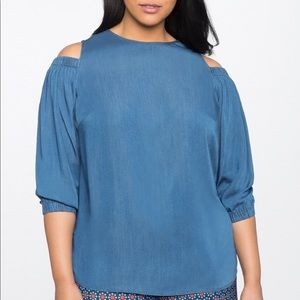 Eloquii puff-sleeve cold shoulder chambray top
